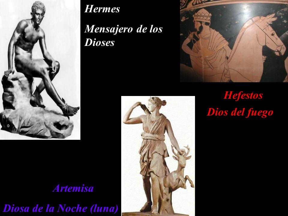 Hermes Mensajero de los Dioses Hefestos Dios del fuego Artemisa Diosa de la Noche (luna)