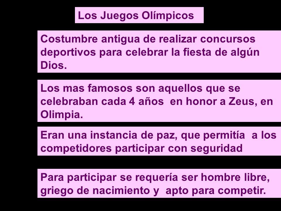 Los Juegos Olímpicos Costumbre antigua de realizar concursos deportivos para celebrar la fiesta de algún Dios.