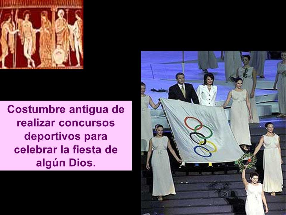 Costumbre antigua de realizar concursos deportivos para celebrar la fiesta de algún Dios.