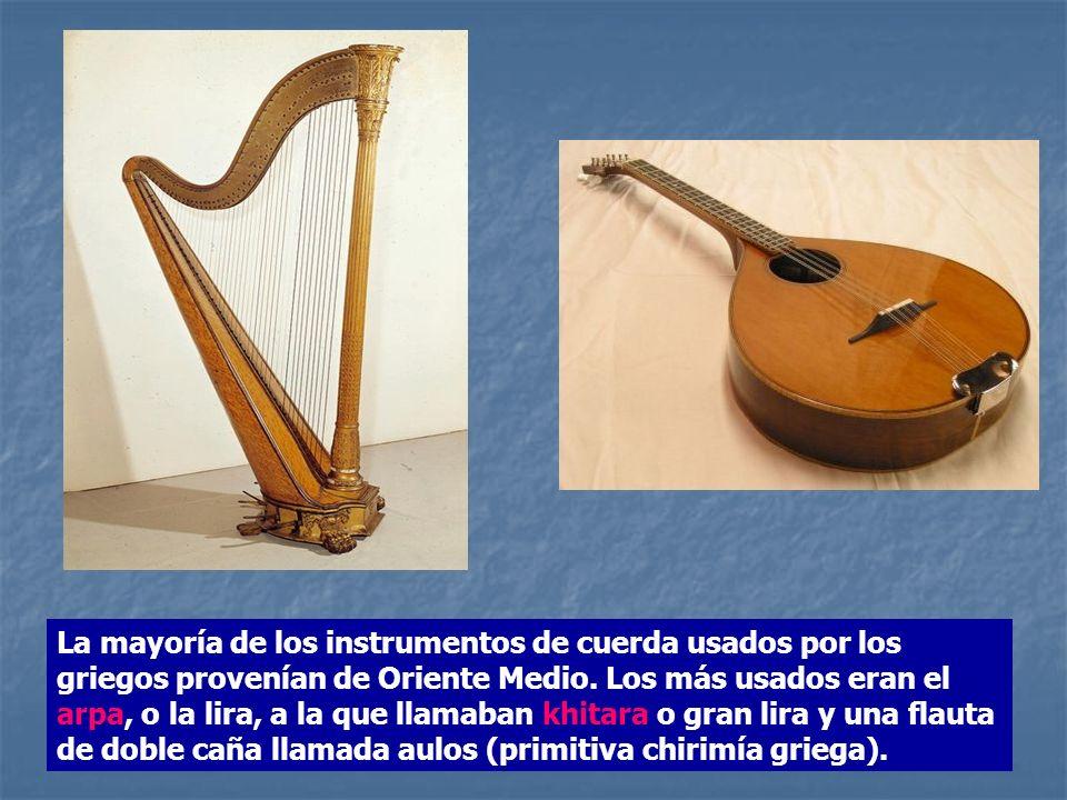 La mayoría de los instrumentos de cuerda usados por los griegos provenían de Oriente Medio.
