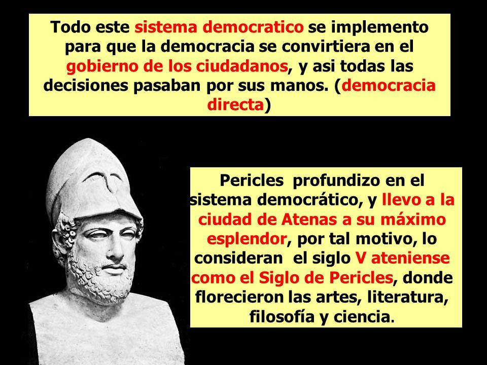 Todo este sistema democratico se implemento para que la democracia se convirtiera en el gobierno de los ciudadanos, y asi todas las decisiones pasaban por sus manos. (democracia directa)