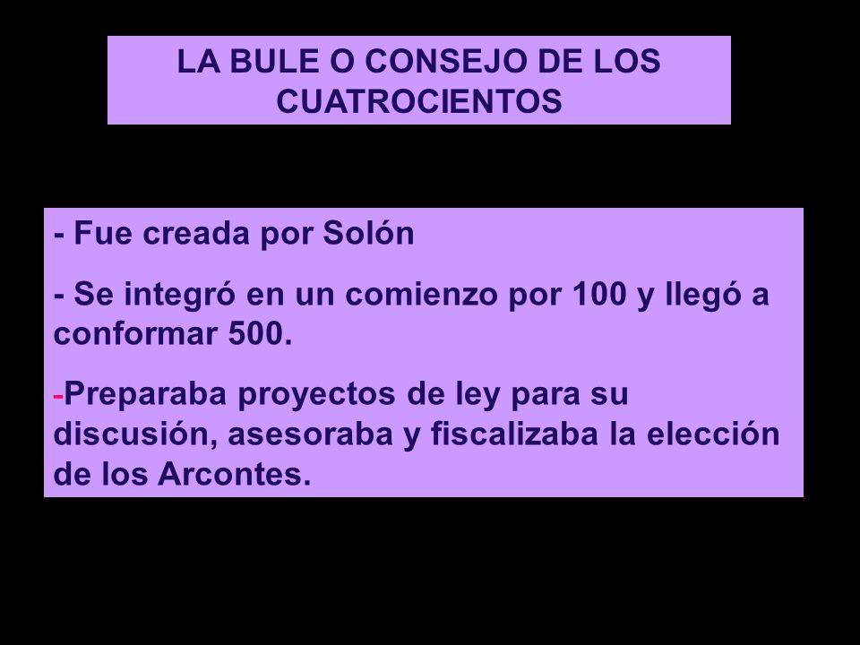 LA BULE O CONSEJO DE LOS CUATROCIENTOS