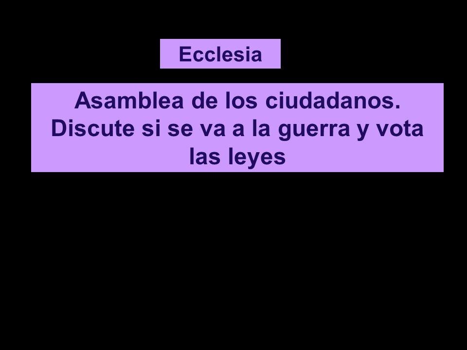 Ecclesia Asamblea de los ciudadanos. Discute si se va a la guerra y vota las leyes