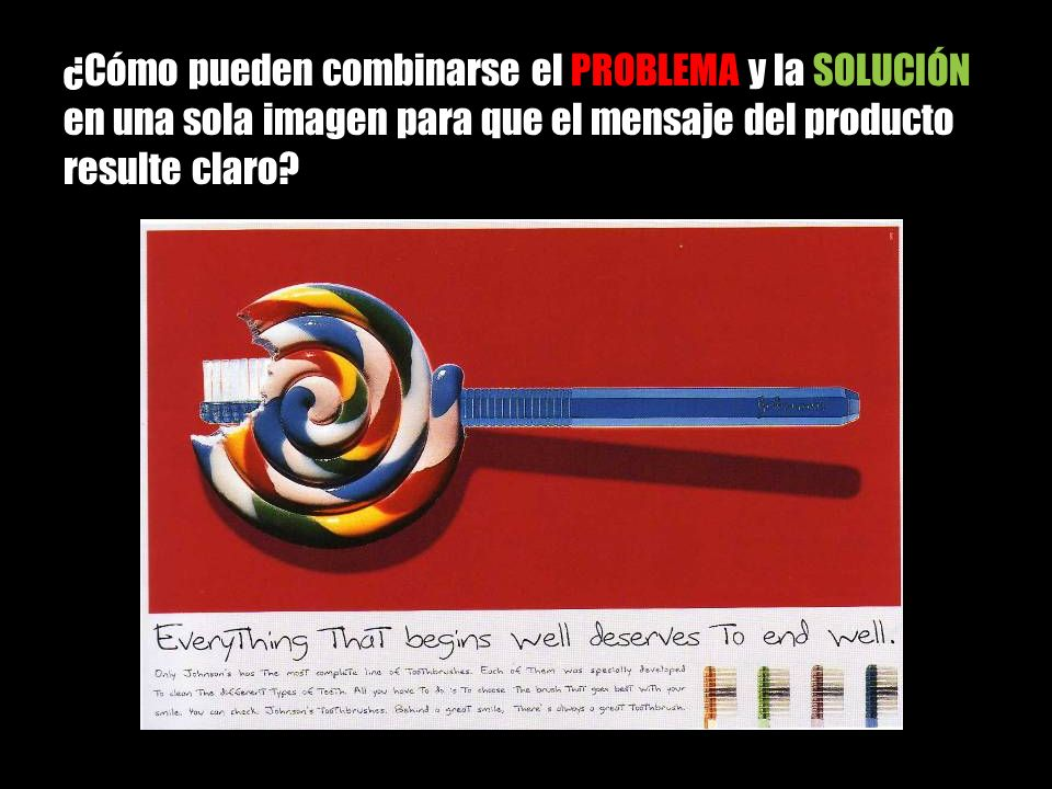 ¿Cómo pueden combinarse el PROBLEMA y la SOLUCIÓN en una sola imagen para que el mensaje del producto resulte claro