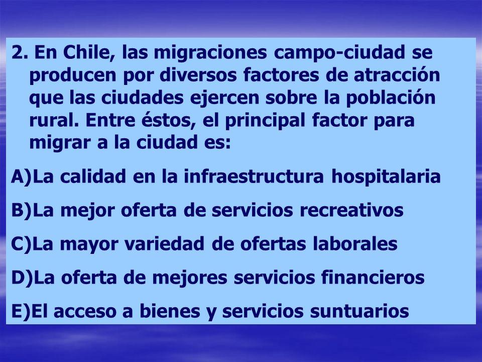 2. En Chile, las migraciones campo-ciudad se producen por diversos factores de atracción que las ciudades ejercen sobre la población rural. Entre éstos, el principal factor para migrar a la ciudad es: