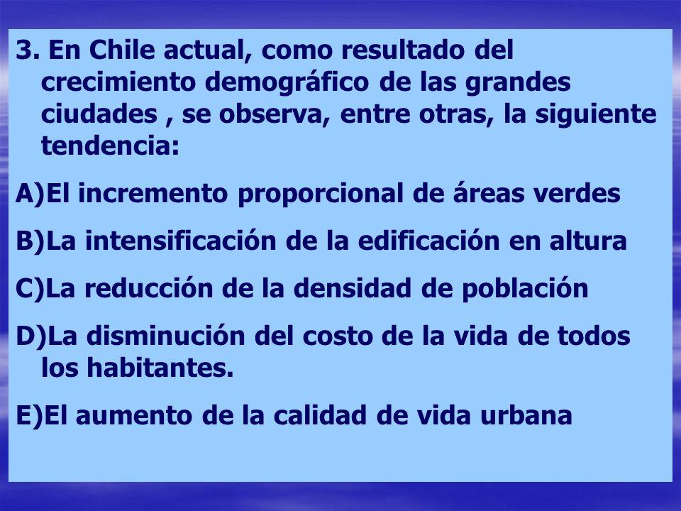 3. En Chile actual, como resultado del crecimiento demográfico de las grandes ciudades , se observa, entre otras, la siguiente tendencia: