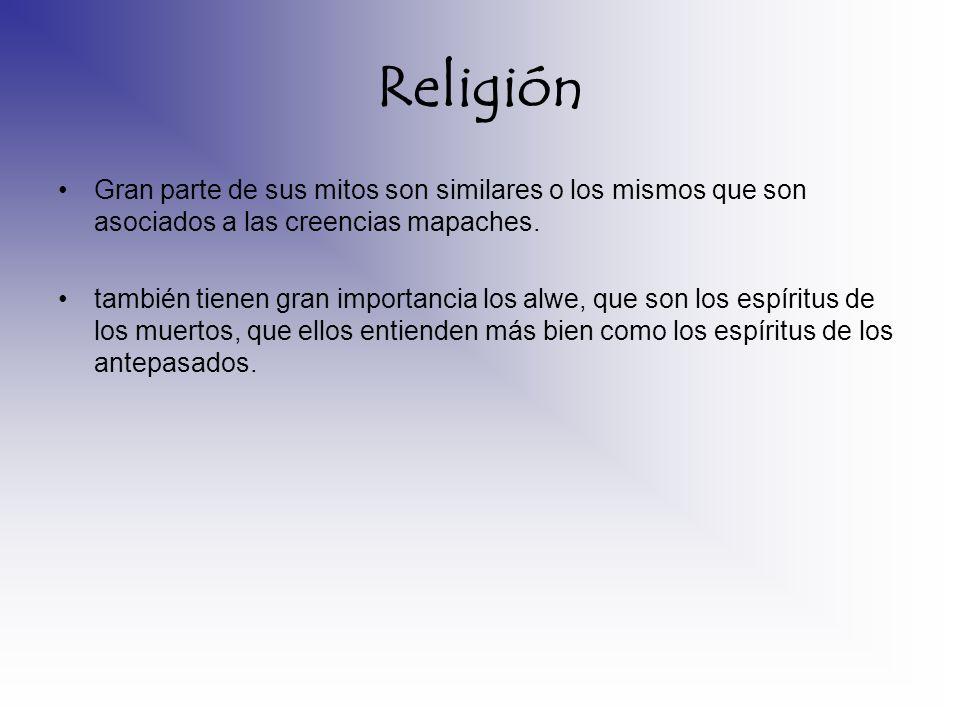 Religión Gran parte de sus mitos son similares o los mismos que son asociados a las creencias mapaches.