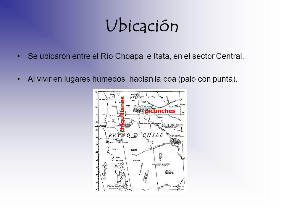 Ubicación Se ubicaron entre el Río Choapa e Itata, en el sector Central.