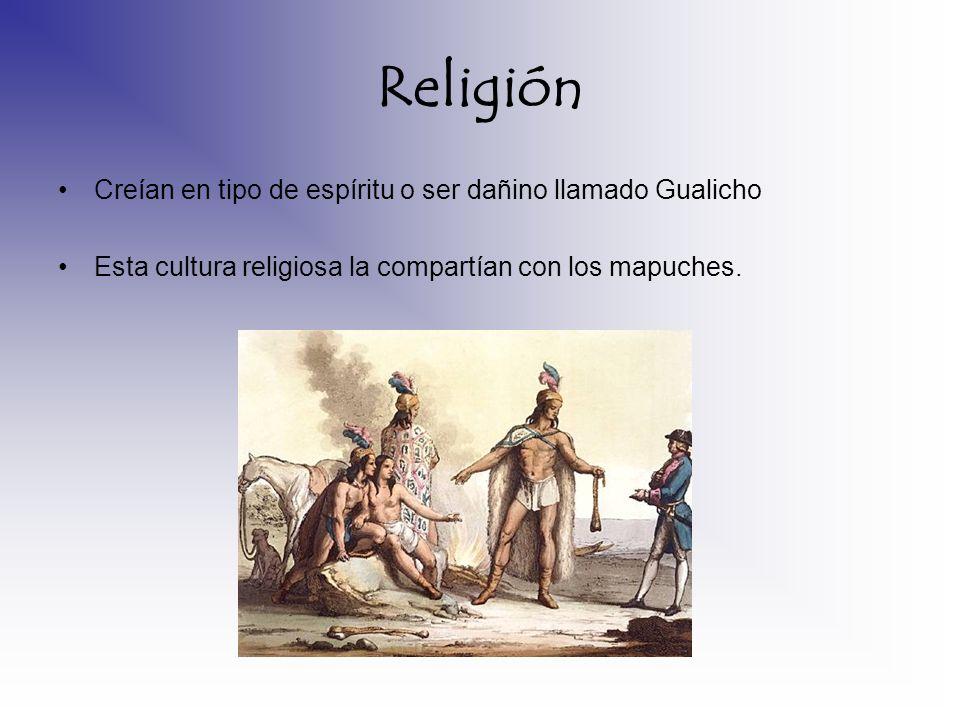 Religión Creían en tipo de espíritu o ser dañino llamado Gualicho