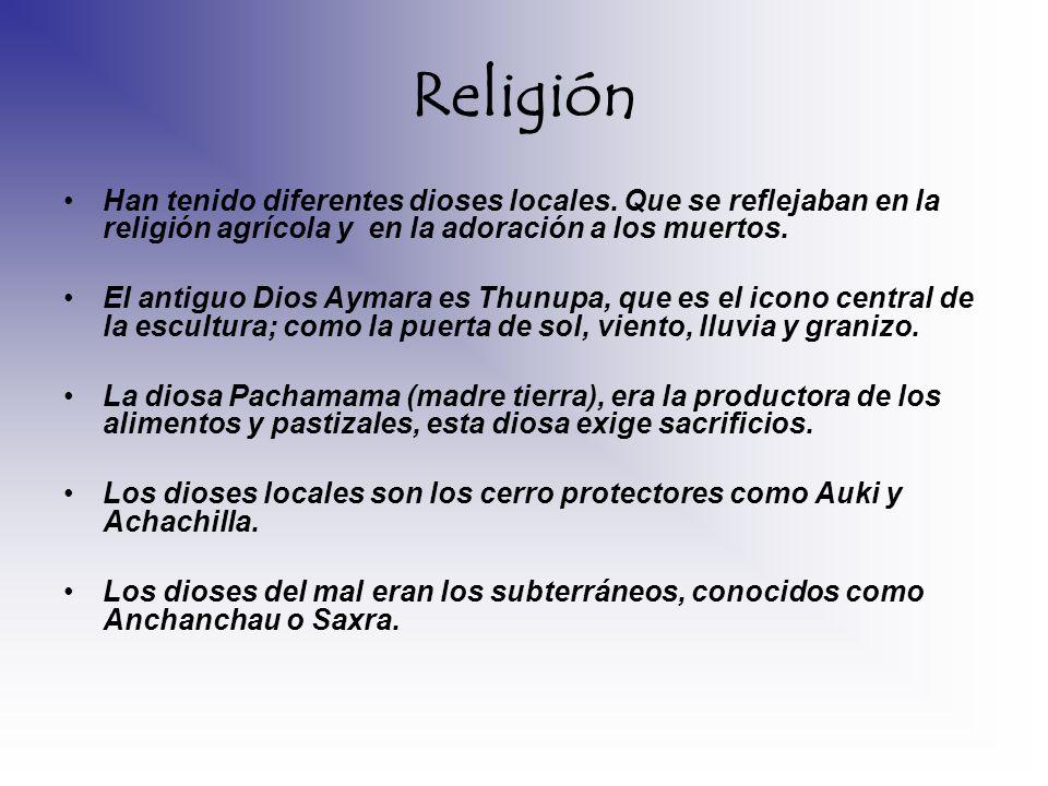ReligiónHan tenido diferentes dioses locales. Que se reflejaban en la religión agrícola y en la adoración a los muertos.
