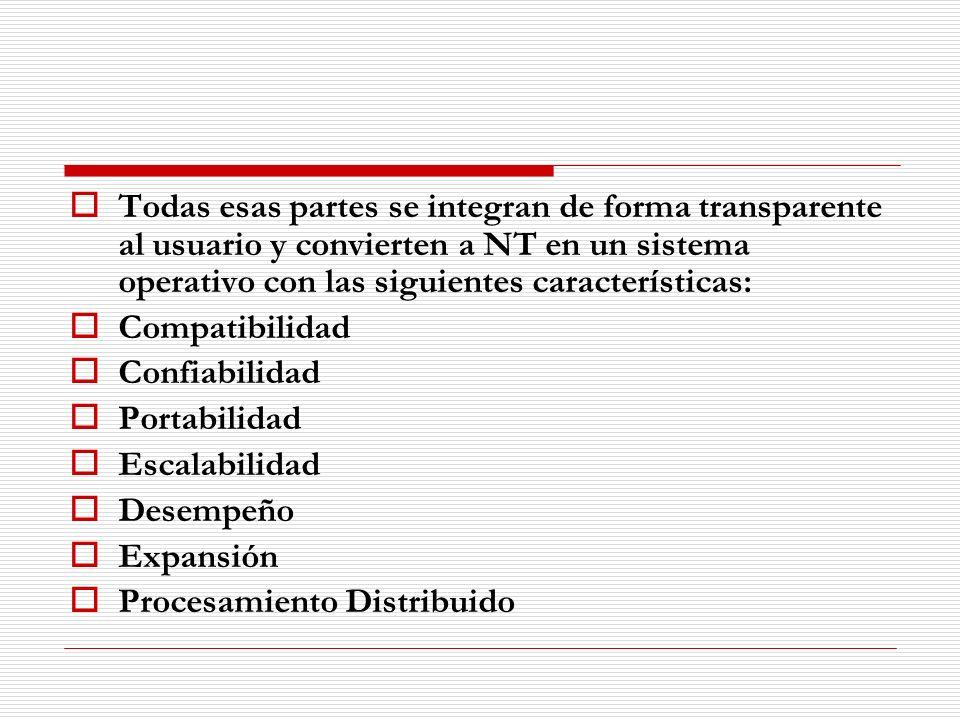 Todas esas partes se integran de forma transparente al usuario y convierten a NT en un sistema operativo con las siguientes características:
