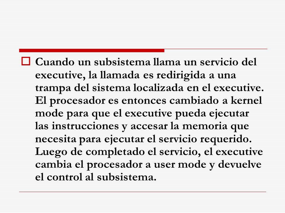 Cuando un subsistema llama un servicio del executive, la llamada es redirigida a una trampa del sistema localizada en el executive.
