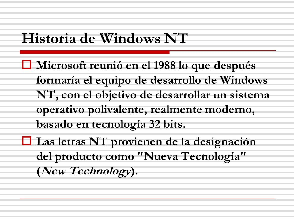Historia de Windows NT