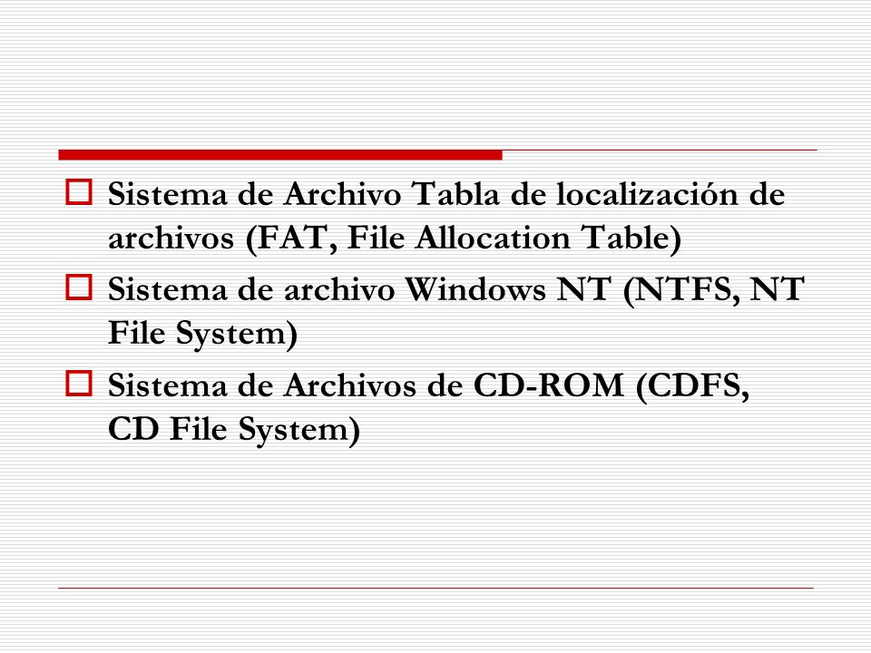 Sistema de Archivo Tabla de localización de archivos (FAT, File Allocation Table)