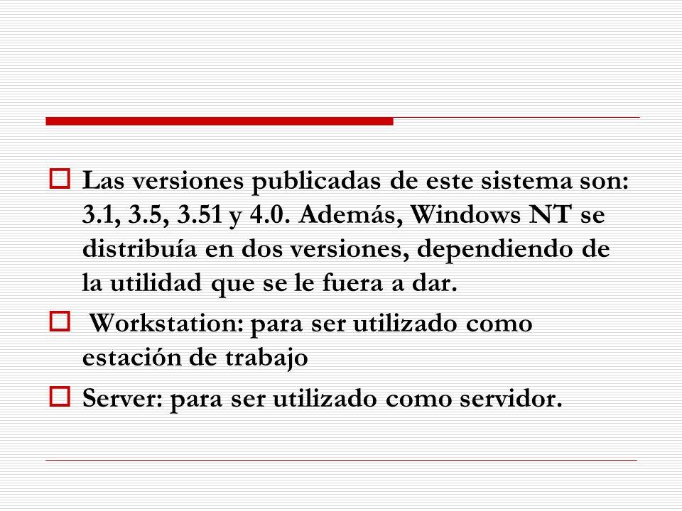 Las versiones publicadas de este sistema son: 3. 1, 3. 5, 3. 51 y 4