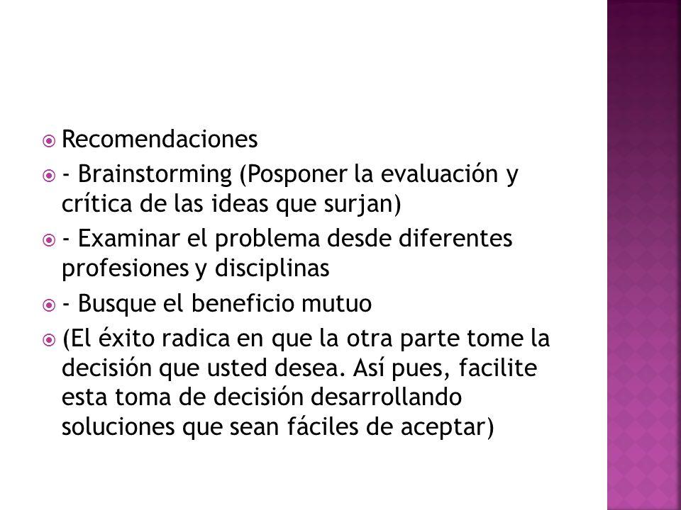 Recomendaciones - Brainstorming (Posponer la evaluación y crítica de las ideas que surjan)