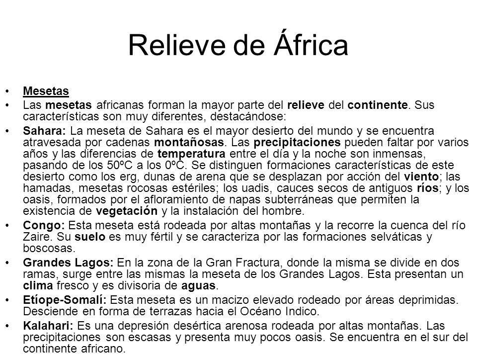 Relieve de África Mesetas