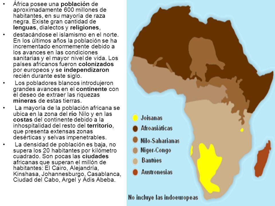 África posee una población de aproximadamente 600 millones de habitantes, en su mayoría de raza negra. Existe gran cantidad de lenguas, dialectos y religiones,