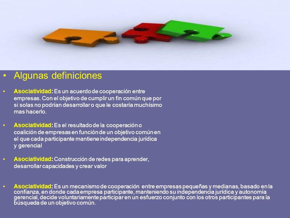 Algunas definiciones Asociatividad: Es un acuerdo de cooperación entre