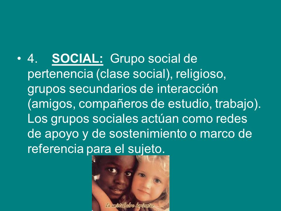 4. SOCIAL: Grupo social de pertenencia (clase social), religioso, grupos secundarios de interacción (amigos, compañeros de estudio, trabajo).