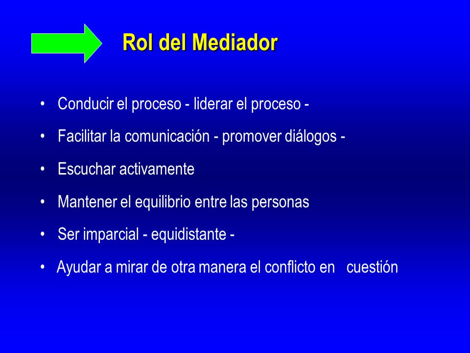 Rol del Mediador Conducir el proceso - liderar el proceso -
