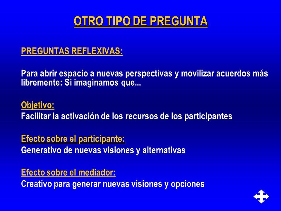 OTRO TIPO DE PREGUNTA PREGUNTAS REFLEXIVAS: