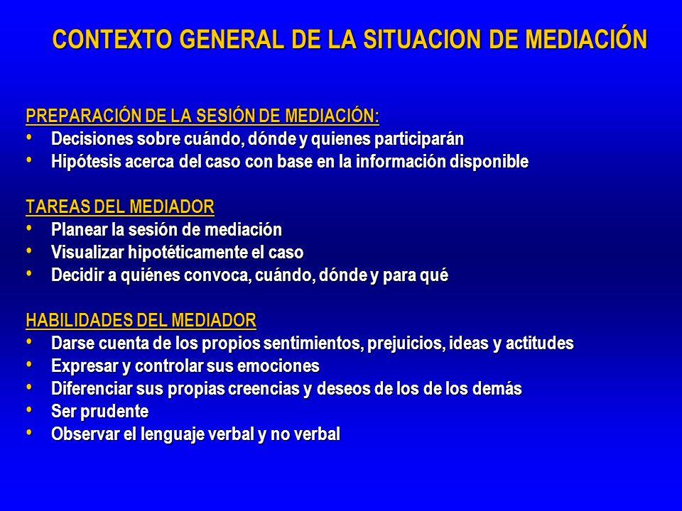 CONTEXTO GENERAL DE LA SITUACION DE MEDIACIÓN