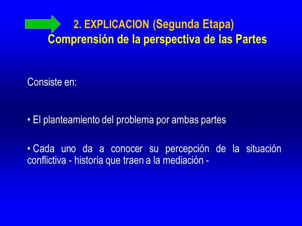 2. EXPLICACION (Segunda Etapa) Comprensión de la perspectiva de las Partes