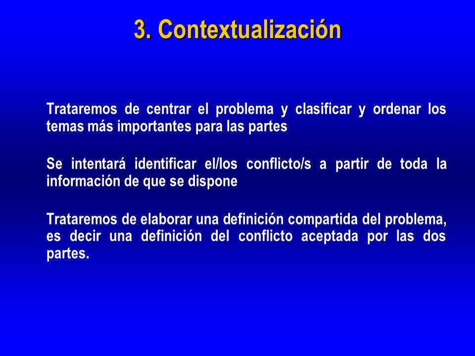 3. Contextualización Trataremos de centrar el problema y clasificar y ordenar los temas más importantes para las partes.