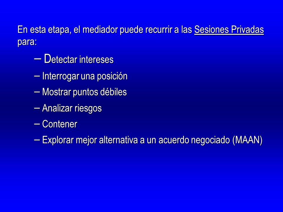 En esta etapa, el mediador puede recurrir a las Sesiones Privadas para: