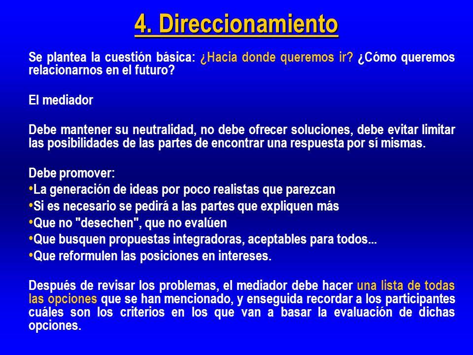 4. Direccionamiento Se plantea la cuestión básica: ¿Hacia donde queremos ir ¿Cómo queremos relacionarnos en el futuro