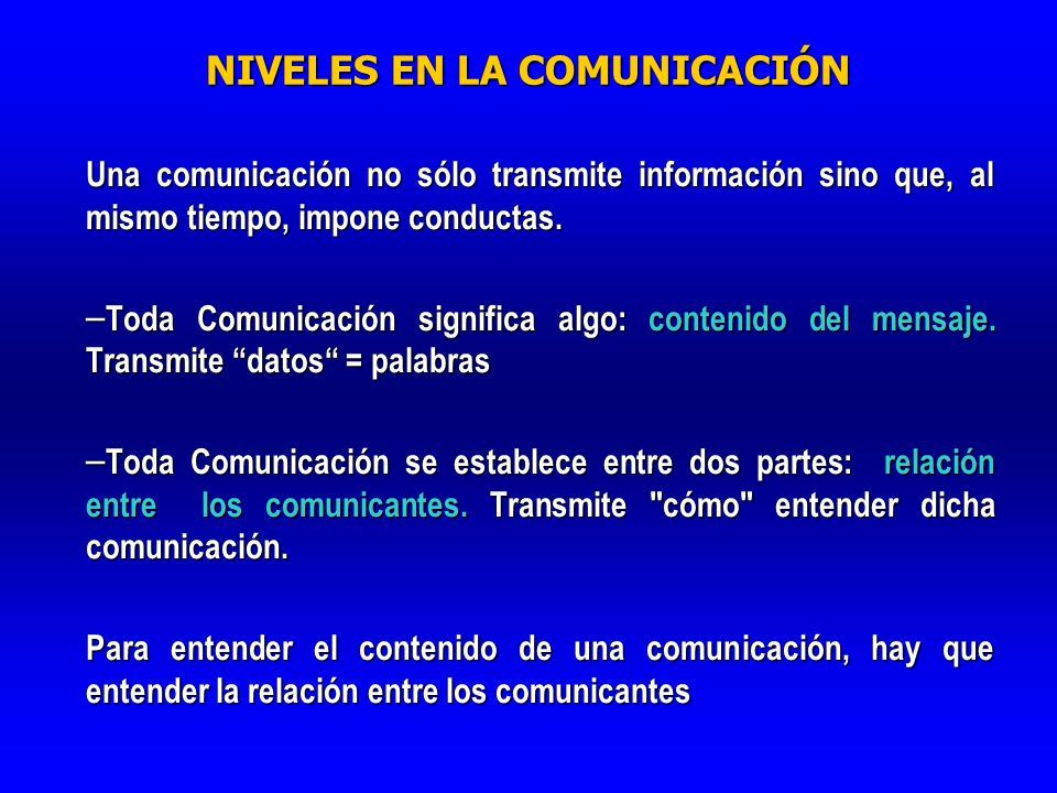 NIVELES EN LA COMUNICACIÓN