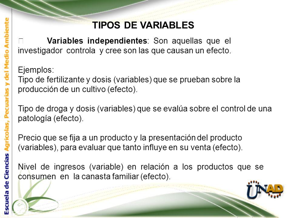 TIPOS DE VARIABLES  Variables independientes: Son aquellas que el investigador controla y cree son las que causan un efecto.