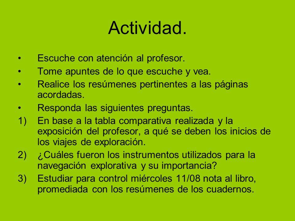 Actividad. Escuche con atención al profesor.