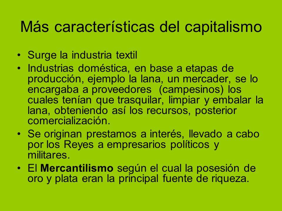 Más características del capitalismo
