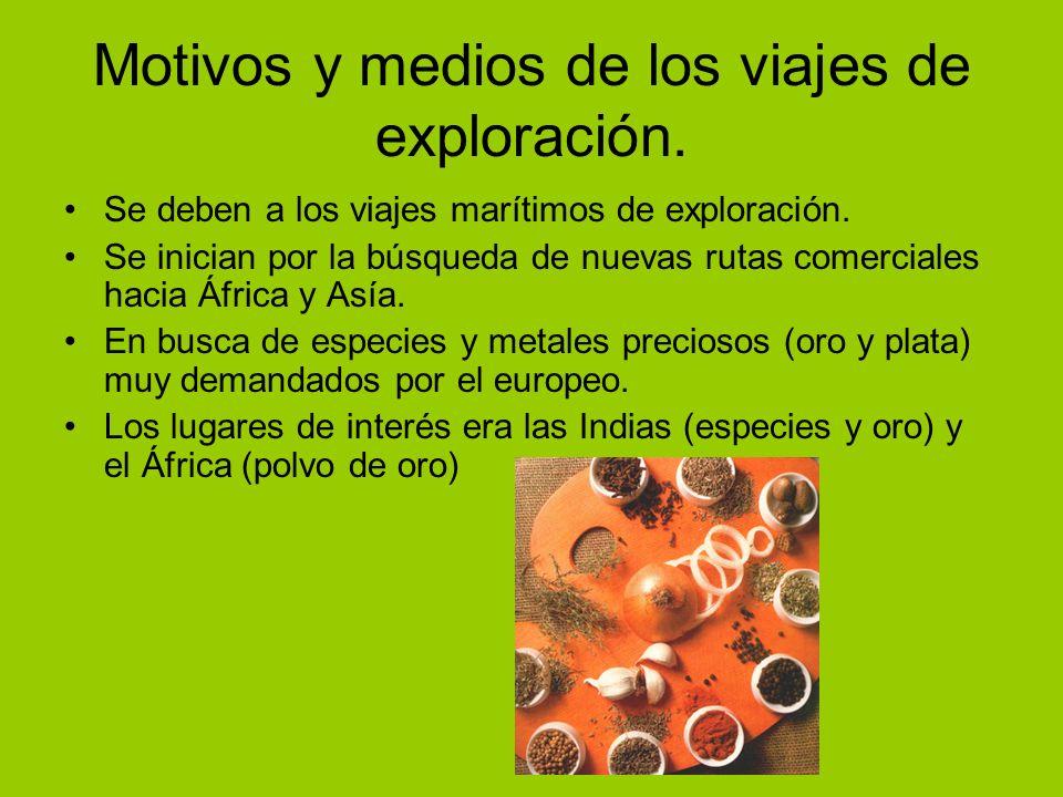 Motivos y medios de los viajes de exploración.