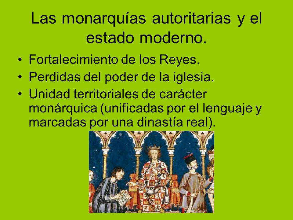 Las monarquías autoritarias y el estado moderno.