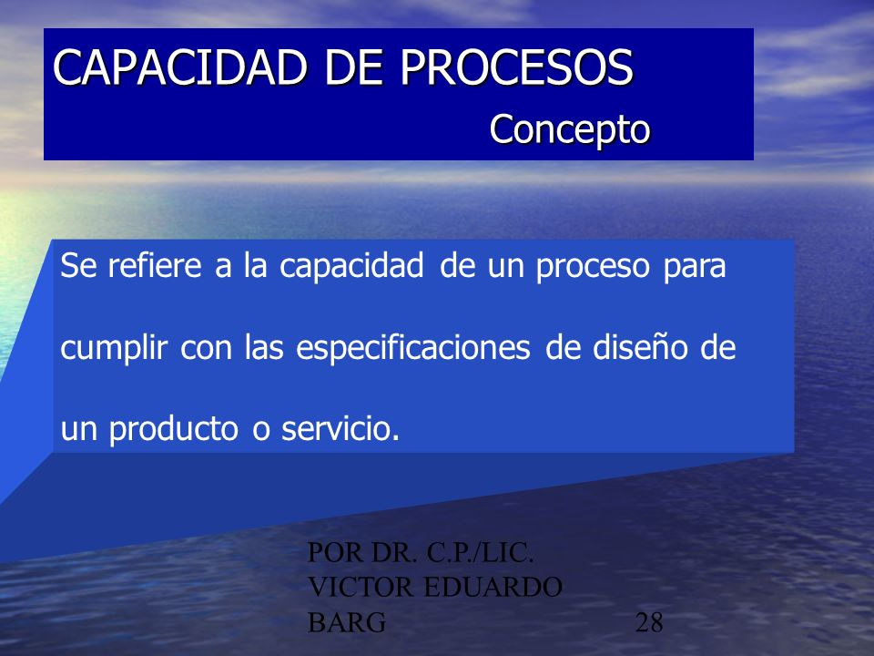 CAPACIDAD DE PROCESOS Concepto