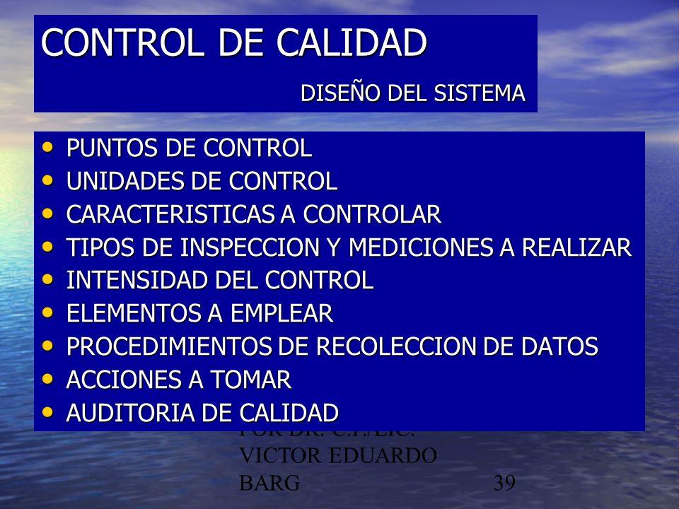 CONTROL DE CALIDAD DISEÑO DEL SISTEMA