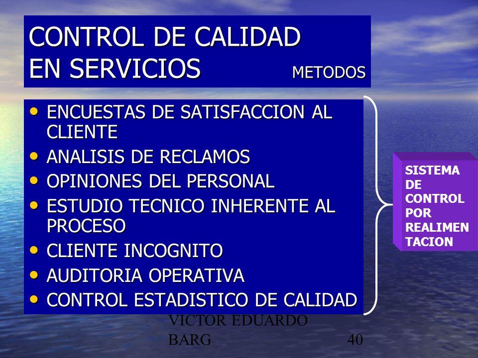 CONTROL DE CALIDAD EN SERVICIOS METODOS