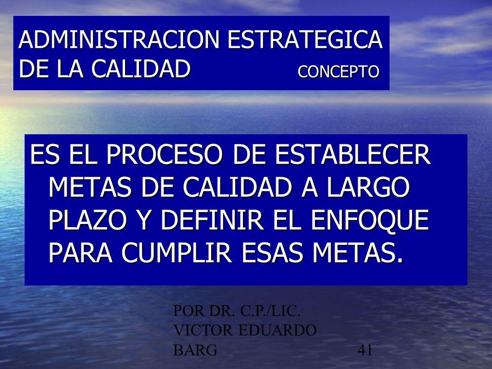 ADMINISTRACION ESTRATEGICA DE LA CALIDAD CONCEPTO