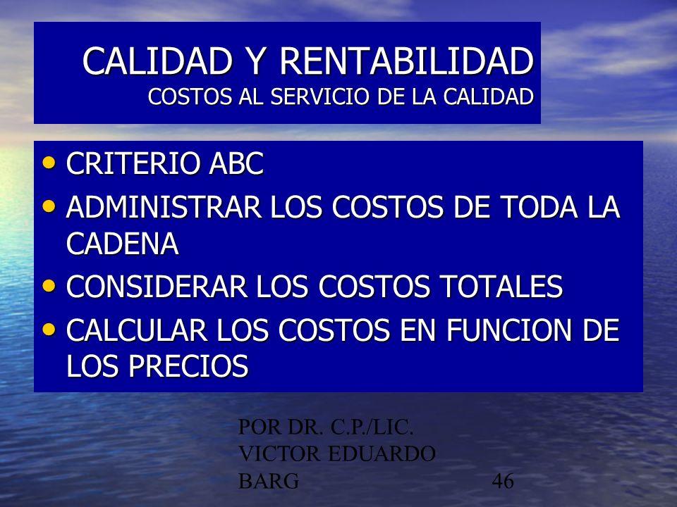 CALIDAD Y RENTABILIDAD COSTOS AL SERVICIO DE LA CALIDAD