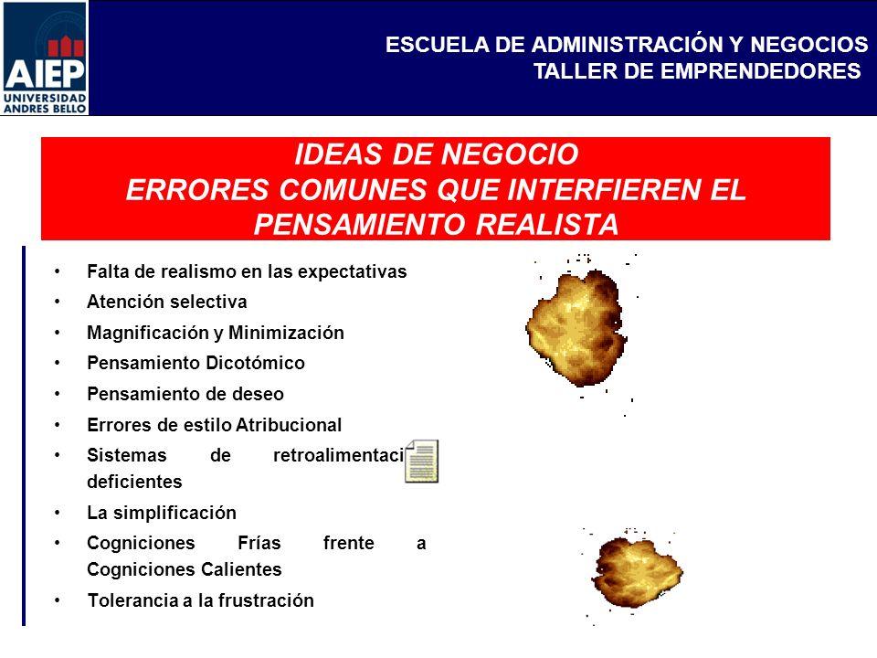 IDEAS DE NEGOCIO ERRORES COMUNES QUE INTERFIEREN EL PENSAMIENTO REALISTA