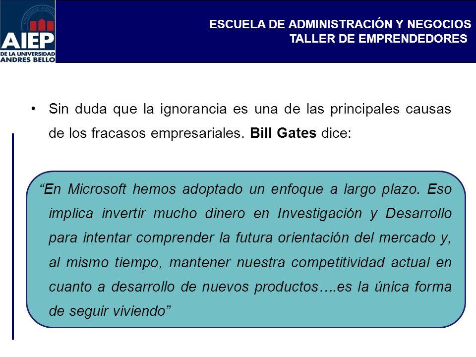 Sin duda que la ignorancia es una de las principales causas de los fracasos empresariales. Bill Gates dice: