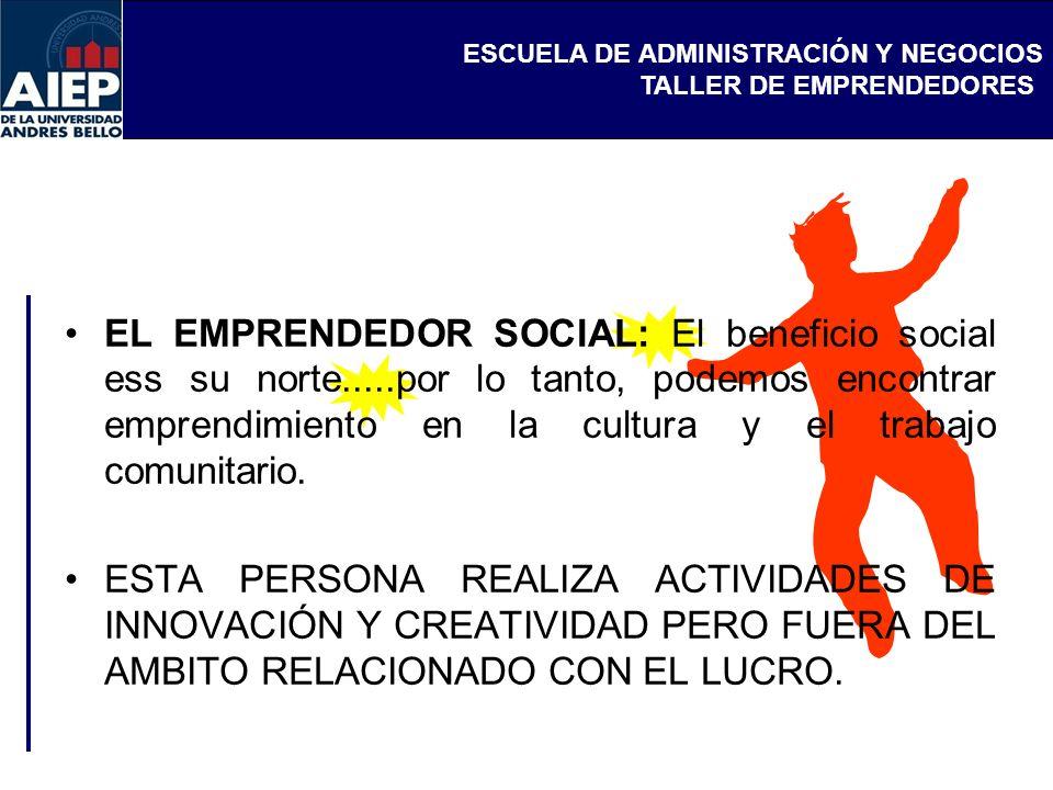 EL EMPRENDEDOR SOCIAL: El beneficio social ess su norte