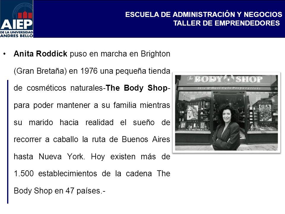Anita Roddick puso en marcha en Brighton (Gran Bretaña) en 1976 una pequeña tienda de cosméticos naturales-The Body Shop-para poder mantener a su familia mientras su marido hacia realidad el sueño de recorrer a caballo la ruta de Buenos Aires hasta Nueva York.