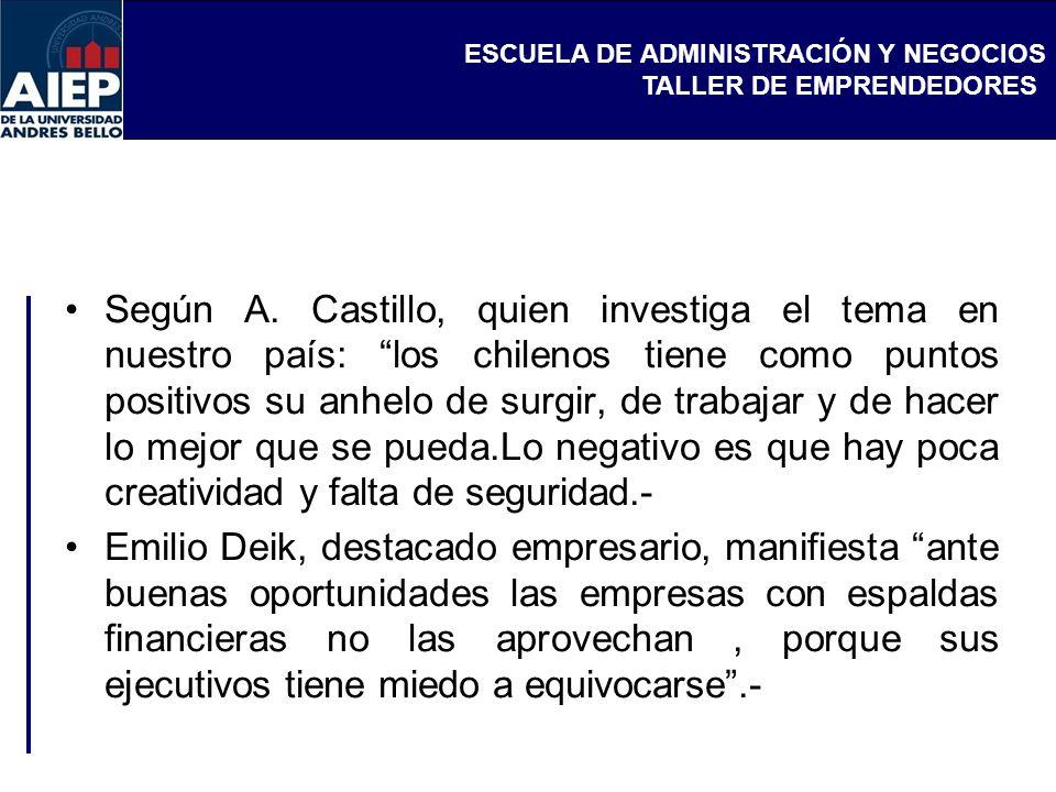 Según A. Castillo, quien investiga el tema en nuestro país: los chilenos tiene como puntos positivos su anhelo de surgir, de trabajar y de hacer lo mejor que se pueda.Lo negativo es que hay poca creatividad y falta de seguridad.-