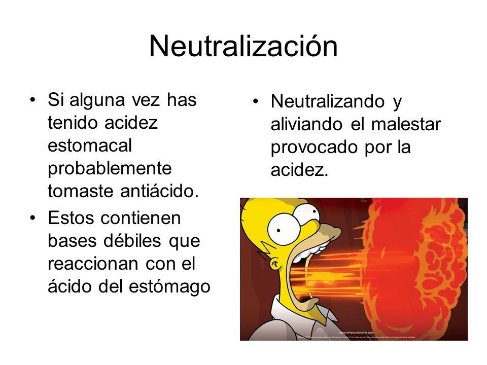 NeutralizaciónSi alguna vez has tenido acidez estomacal probablemente tomaste antiácido.