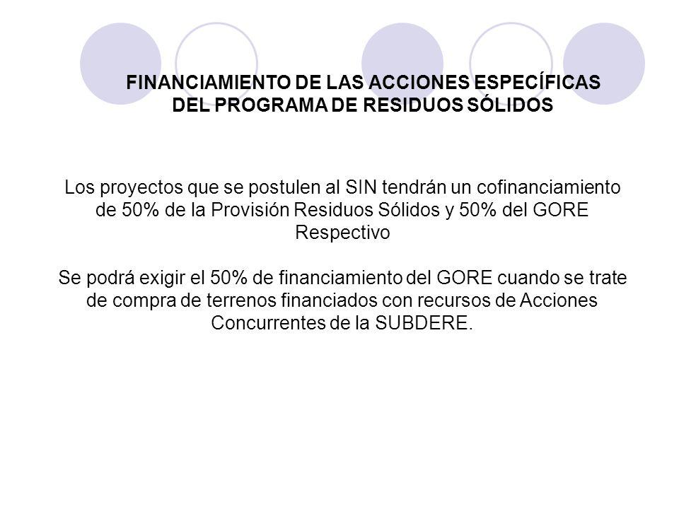 FINANCIAMIENTO DE LAS ACCIONES ESPECÍFICAS