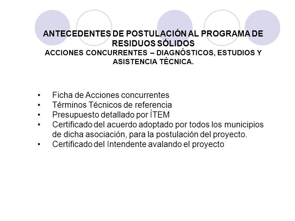 ANTECEDENTES DE POSTULACIÓN AL PROGRAMA DE RESIDUOS SÓLIDOS